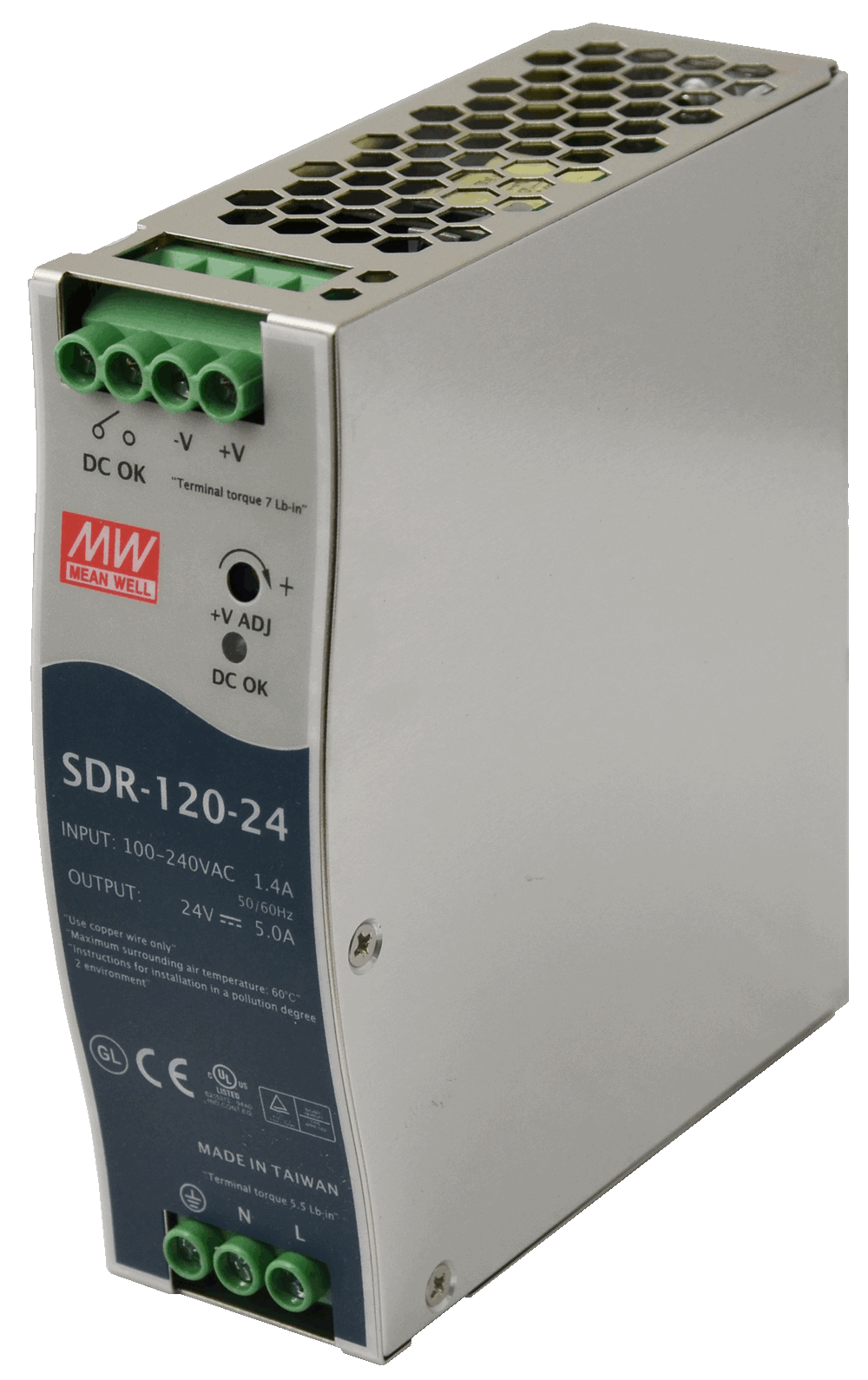 Mean Well MEAN WELL SDR-120 Slim, High Reliability 120W Din Rail PSU - BNR Industrial