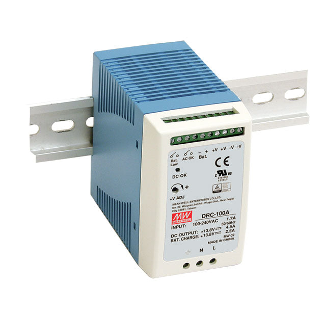 Mean Well MEAN WELL DRC-100 Series UPS Din Rail Power Supply with Battery Back Up - BNR Industrial