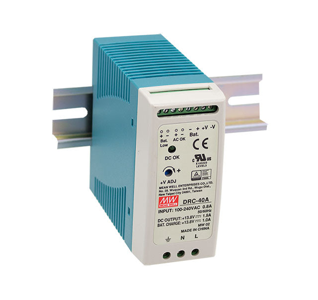 Mean Well MEAN WELL DRC-40 Series UPS Din Rail Power Supply with Battery Back Up - BNR Industrial