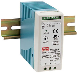 MEAN WELL DRC-60 Series UPS Din Rail Power Supply with Battery Back Up