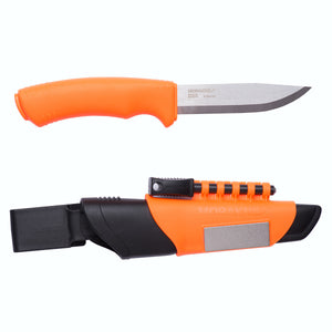Morakniv Bushcraft Survival Orange with Clam Sheath, Fire Starter and Diamond Sharpener - BNR Industrial