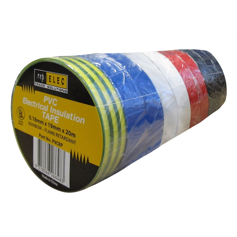 Repelec 20m x 19mm Assorted PVC Electrical Insulation Tape - 10 Pack - BNR Industrial