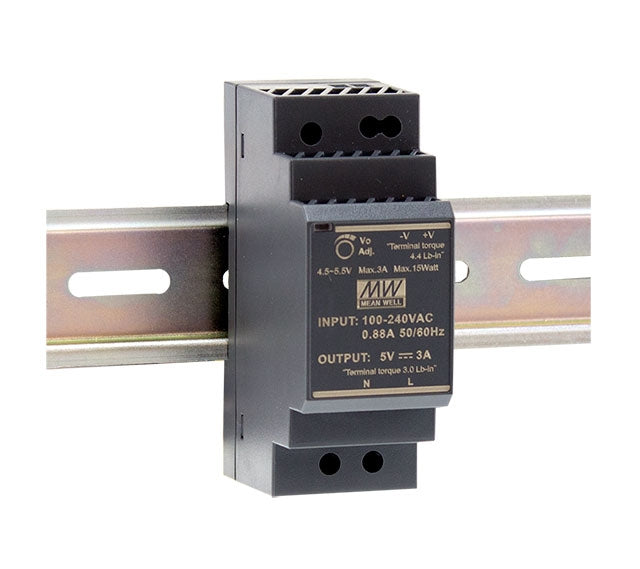 Mean Well MEAN WELL HDR-30 Ultra Slim Step Shape DIN Rail PSU - BNR Industrial