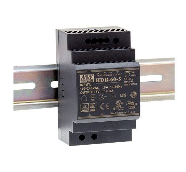 Mean Well MEAN WELL HDR-60 Ultra Slim Step Shape DIN Rail PSU - BNR Industrial