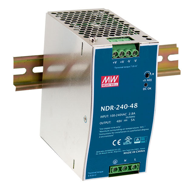 Mean Well MEAN WELL NDR-240 Slim, Low Cost 240W Din Rail PSU - BNR Industrial