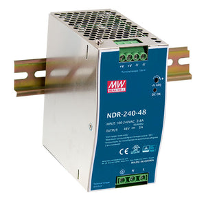 MEAN WELL NDR-240 Slim, Low Cost 240W Din Rail PSU