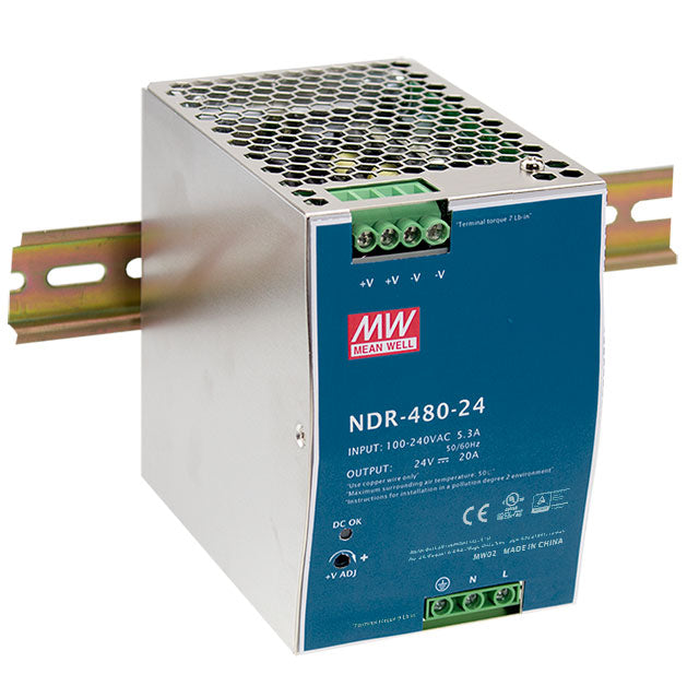MEAN WELL NDR-480 Slim, Low Cost 480W Din Rail PSU