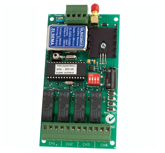 ELSEMA GLR43304, 4 Channel Gigalink™ Series 433MHz Receiver - 11-28VAC/DC in