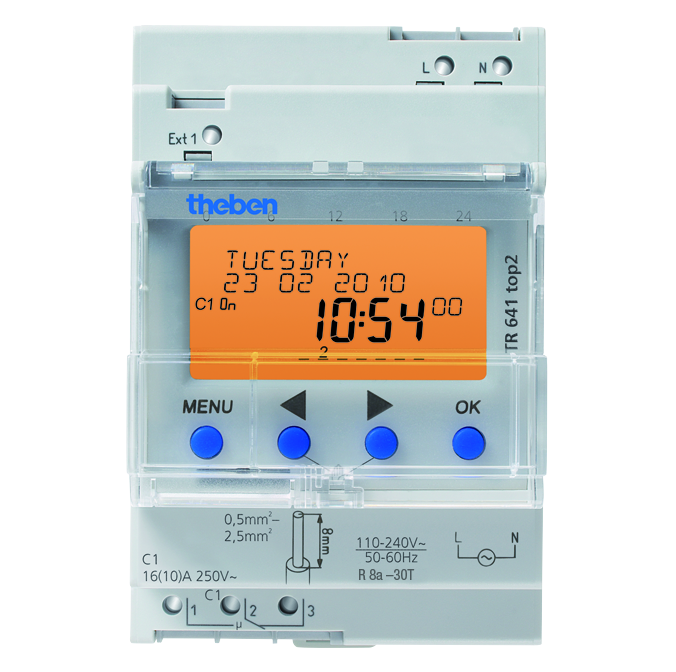 theben TR 641 top2 Digital time switch with yearly and astronomical time, Pulse, Cycle program - 6410100