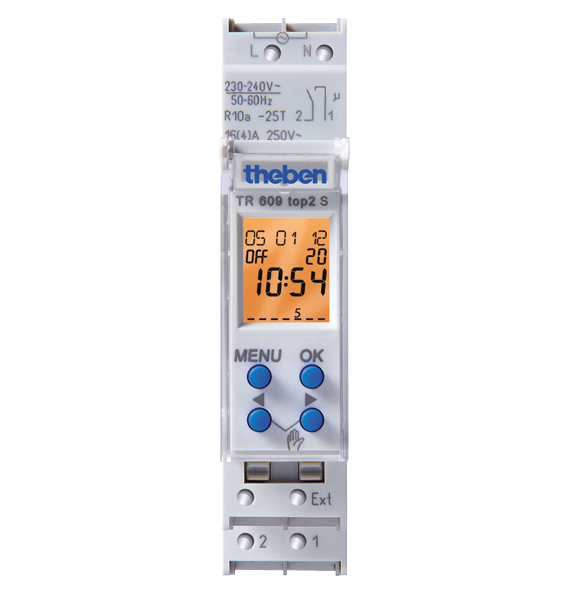 theben TR 609 top2 S Digital time switch with weekly program, pulse and cycle - 6090101