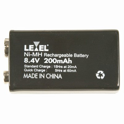 LEVEL 9 Volt Type (8.4V) 200 mAh NI-MH Rechargeable Battery - BNR Industrial
