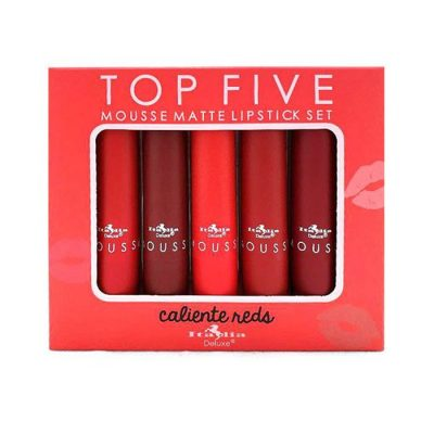 Set de Labiales Mate en Mouse TOP FIVE Caliente Reds