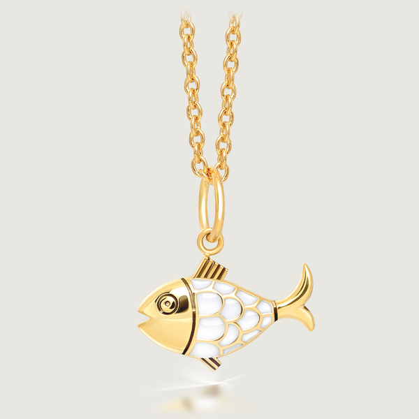 White Fish Charm Necklace