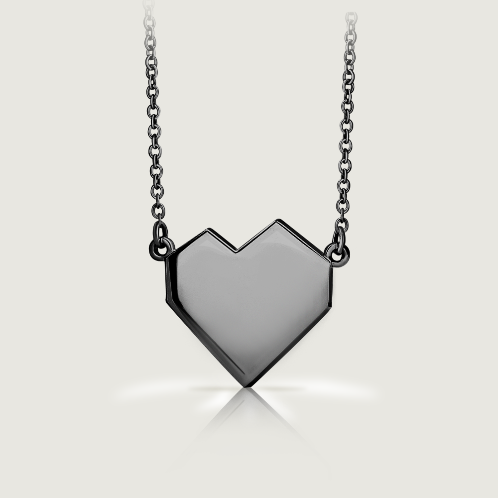 Ararat Silver Black Heart Necklace