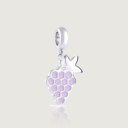 Armenian Grape Charm, Purple Enamel