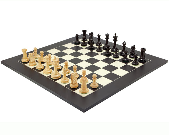 Old English Elite Ebony and Black Luxury Chess Set