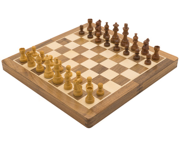 Classic Hardwood Folding Travel 14 inch Chess Set