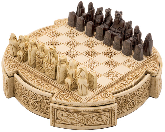 Compact Travel Size Isle Of Lewis Celtic Chess Set 9 Inches in Ivory