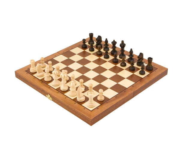 Compact Olympic Intarsy 14 Inch Folding Chess Set