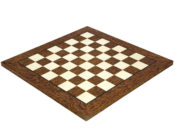 Lacquered Cocoa Ash Burl and Erable 17.7 Inch Deluxe Chess Board