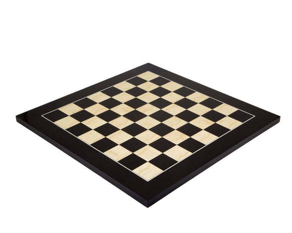 Lacquered 17.75 Inch  Black Anegre Deluxe Chess Board