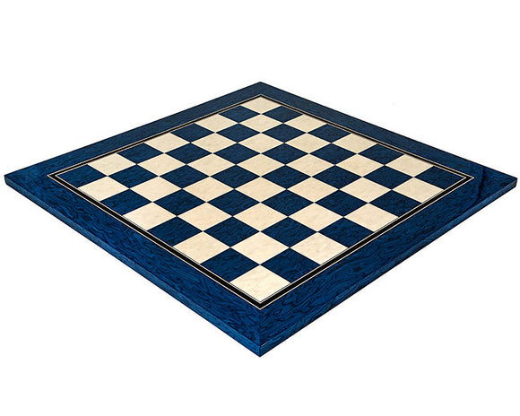 Blue Lacquered Erable and Maple 19.7 Inch Deluxe Chess Board