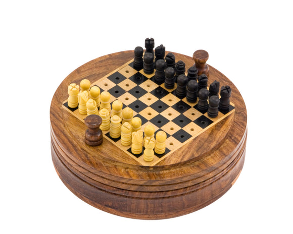 Compact Round Pegged Sheesham 5 Inch Travel Chess Set