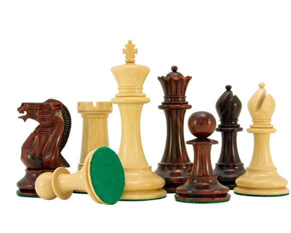 English Elite Series Red Sandalwood Chess Pieces