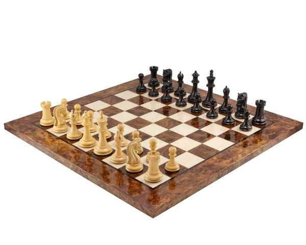 Canterbury Luxury Ebony Chess Set & Briar wood Chess Board