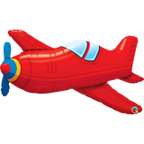 "Red Vintage Airplane 36"" SuperShape Balloon"