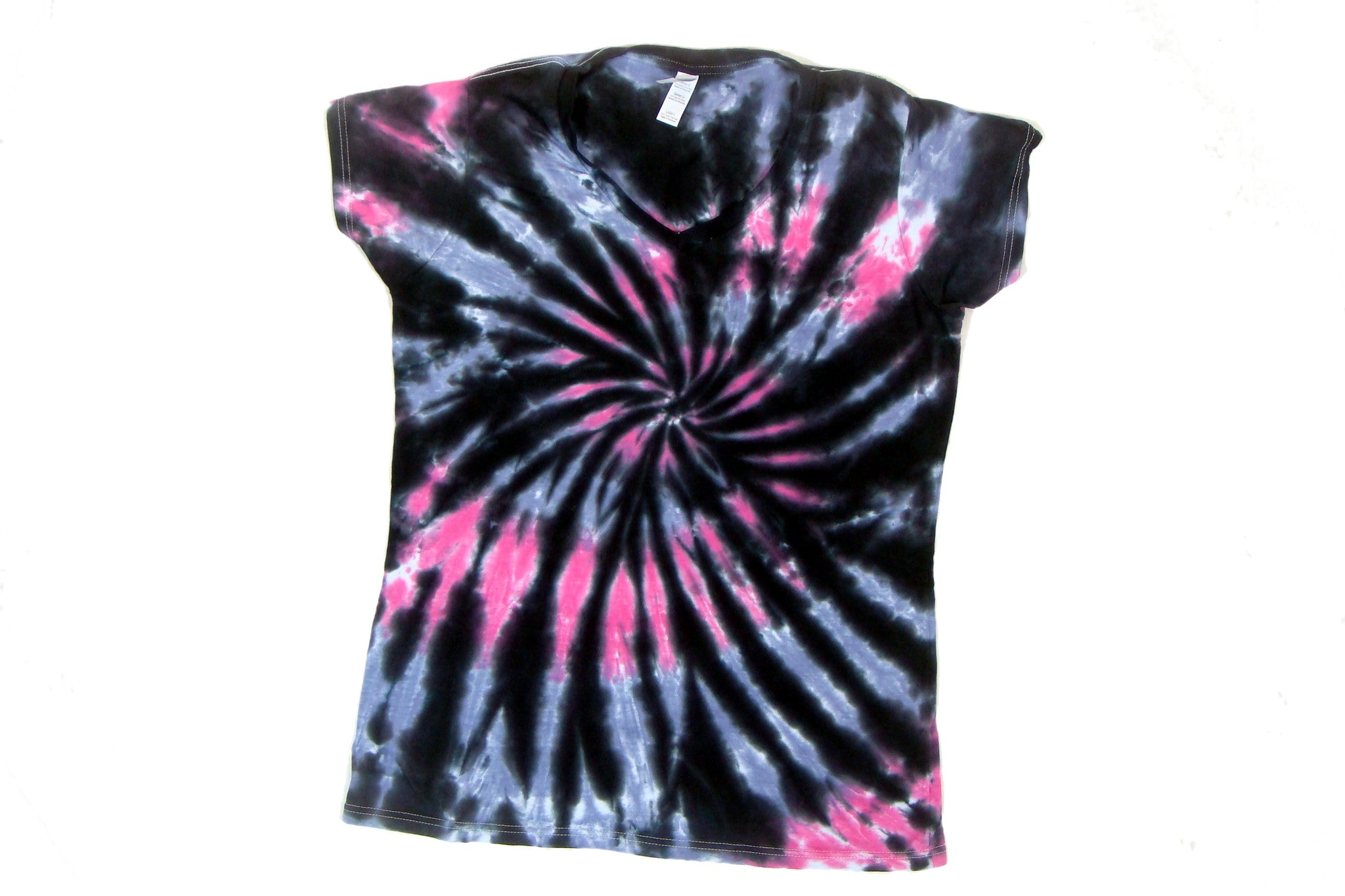 Junior Pink Grey & Black Tie Dye Fitted T Shirt