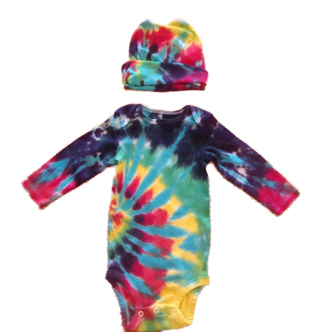 Long Sleeve Tie Dye Infant Baby Onesie With Matching Cap - Blue Rainbow