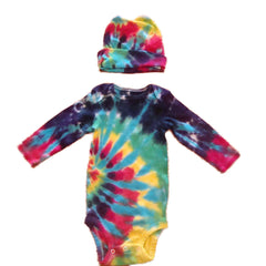 Long Sleeve Tie Dye Onesie With Matching Cap