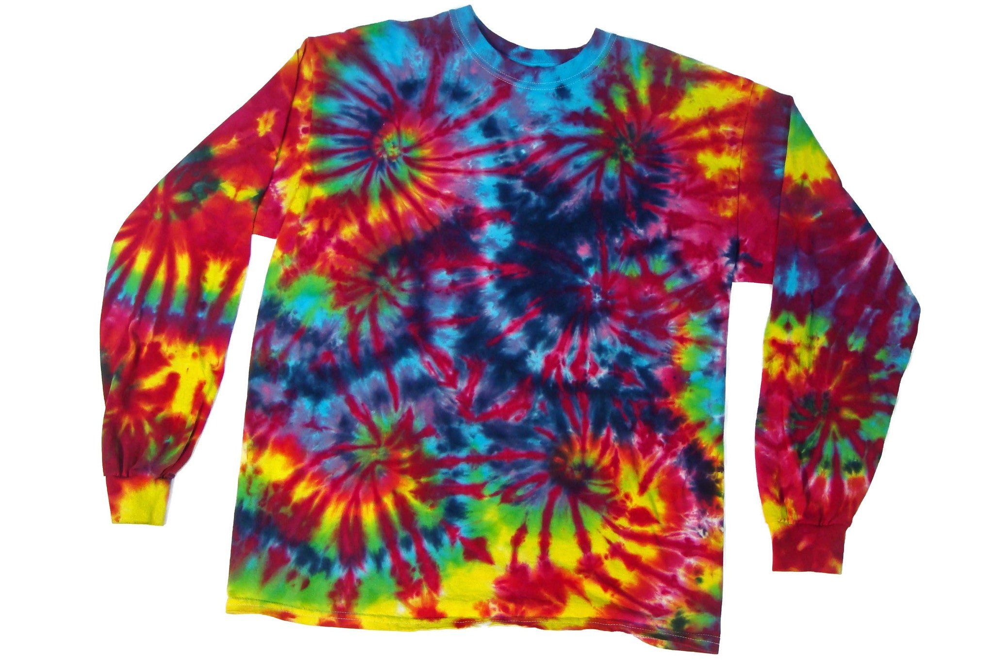 Long Sleeve Tie Dye Burning Man T Shirt