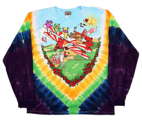 Grateful Dead -BiPlane - Long Sleeve Tie Dye T Shirt