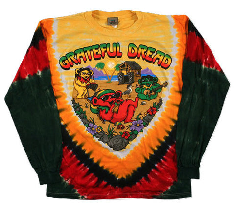 Grateful Dead - Positive Vibrations - Long Sleeve Tie Dye T Shirt