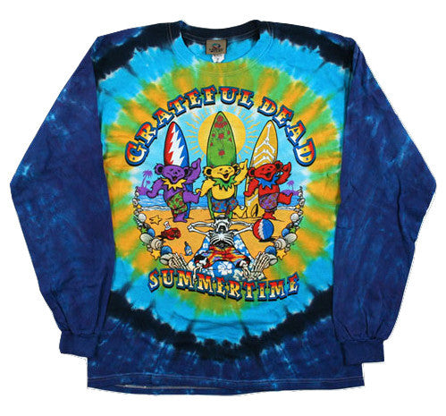 Grateful Dead Beach Bear Bingo Long Sleeve Tie Dye Shirt