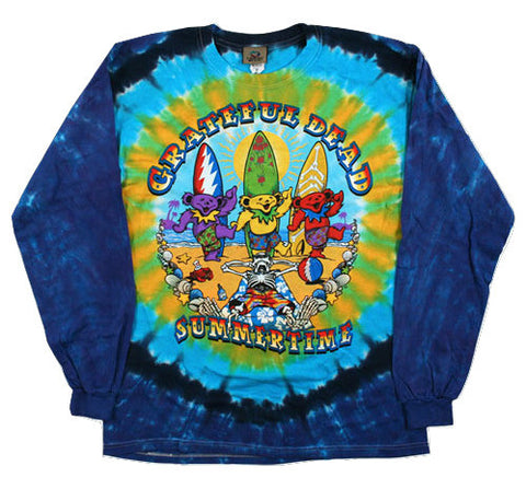 Grateful Dead - Beach Bear Bingo - Long Sleeve Tie Dye T Shirt