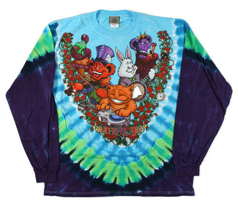 Grateful Dead - Wonderland Jamband - Long Sleeve Tie Dye T Shirt