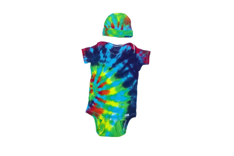 Short Sleeve Tie Dye Infant Baby Onesie With Matching Cap - Blue Rainbow