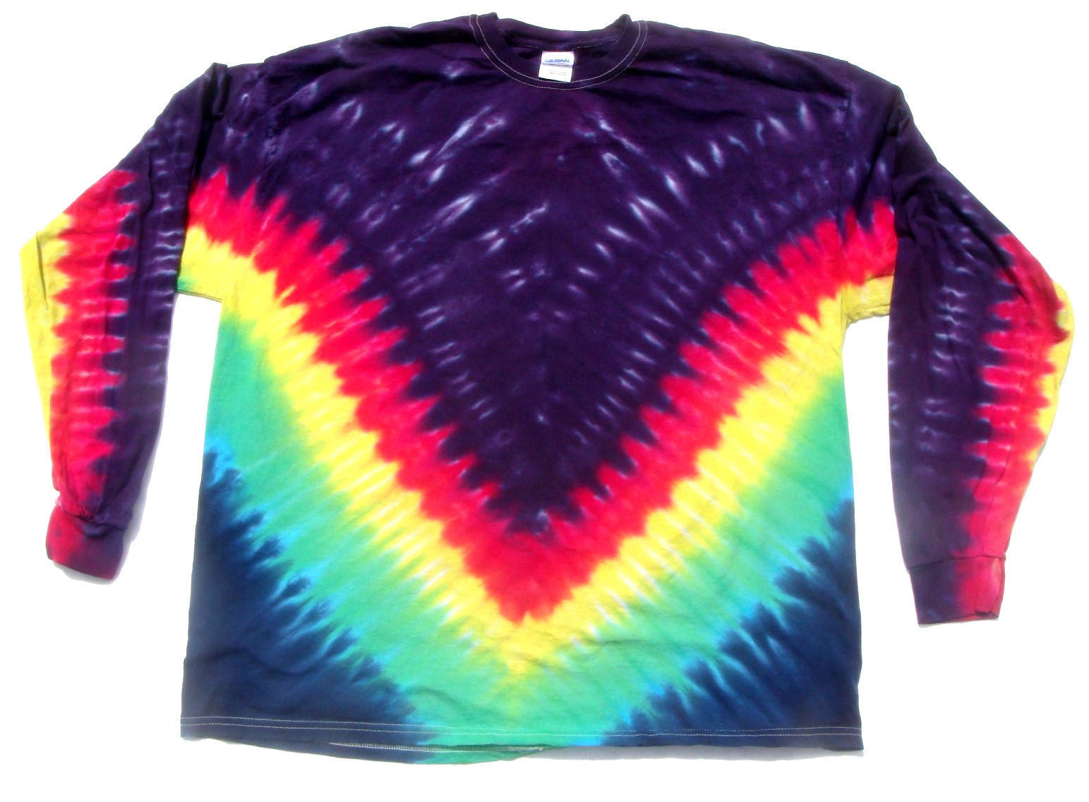 Long Sleeve Tie Dye Rainbow V