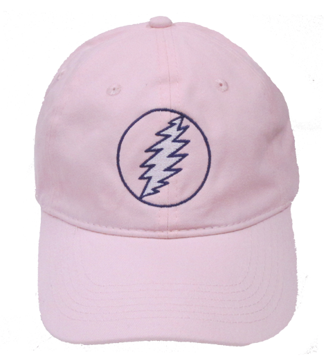 Grateful Lightning Bolt Embroidered Ball Cap-Pink