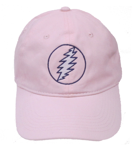 z*Grateful Lightning Bolt Embroidered Ball Cap-Pink