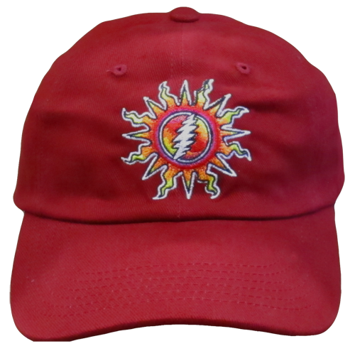 Grateful Dead Sunshine Lightnin' Embroidered Ball Cap - Red