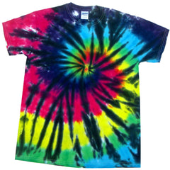 Black Rainbow Shooting Spiral Tie Dye T Shirt