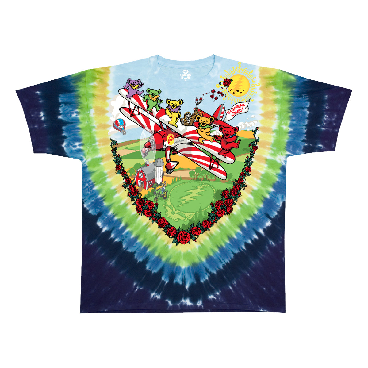 Grateful Dead -Bi-Plane Bears - Short Sleeve Tie Dye T Shirt