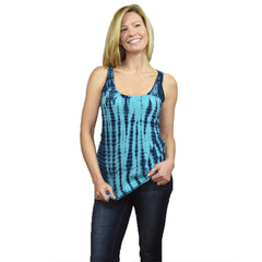 Womens Tie Dye  Tank Top - Aqua/Blue