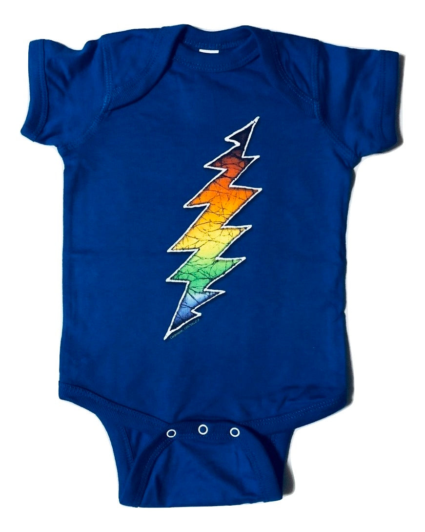 Grateful Dead Lightning Bolt on a Blue Infant Onesie