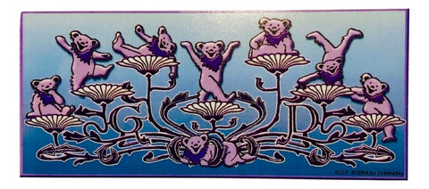 Grateful Dead Dancing Bears and Flowers Window Sticker