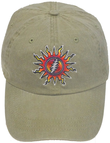 Grateful Dead Sunshine Lightnin' Embroidered Ball Cap - Tan